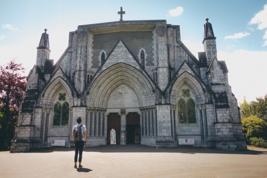man-outside-church